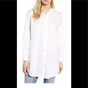 NWT Eileen Fisher Organic Cotton White Tunic Shirt